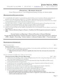 Financial Resume Sample Resume For Financial Analyst Financial