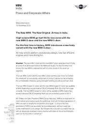 new car launch press releaseBMW India new MINI launch Press Release