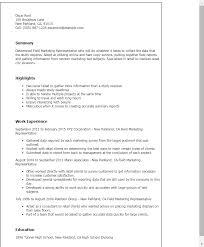 Resume Templates: Field Marketing Representative