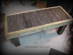 Coffee Table Into A Bench Pallet Wood Rustic Bench Coffee Table Diy Scavenger Chic