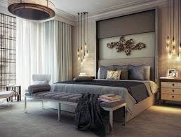 unique gold wall art with grey bedding for luxury master bedroom ideas using stunning pendant lamps