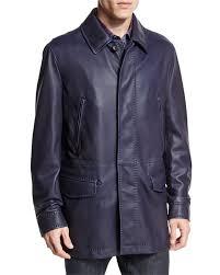 brioni leather car coat navy
