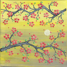 feng shui art for office. Feng Shui Decor Cherry Blossom On Yellow Collage EggShell Mosaic Spring Celebration Art Wall Home Office For