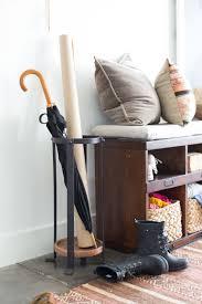 White Standing Coat Rack Mudroom Umbrella Bucket Coat Holder Stand Coat Hanger With Storage 71