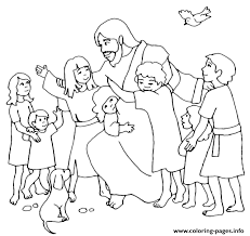 printable pictures of jesus with children. Simple Children Jesus Christ With Children Coloring Pages Throughout Printable Pictures Of E