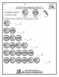 Money Chart For Kids Printable Free Math Money Worksheets Worksheet For Preschool Pre