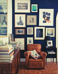 home office dark blue gallery wall. Dark Royal Blue Wall, Collection Of Pictures On Leather Chair, Books Via Home Office Gallery Wall O