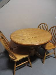 description used 42 inch oak round table with leaf 4 chairs