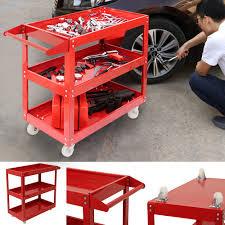 red tool storage heavy duty garage trolley work diy 3 tier wheel cart shelf