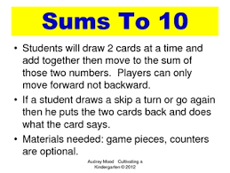 Sums to 10 Game by Audrey Mood | Teachers Pay Teachers