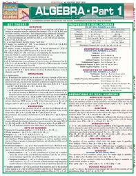 Algebra Part 1 Laminated Study Guide 9781572227354
