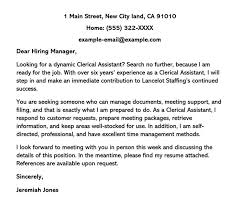sle clerical cover letter and