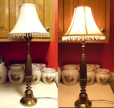 vintage solid brass tall table lamp art nouveau deco with beaded fringed shade bronze gold tone