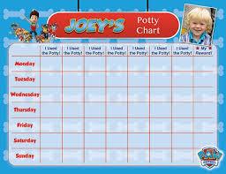 Paw Patrol Potty Chart Potty Training Chart Potty Reward Chart Potty Sticker Chart Customized Personalized Printable Chores Chart