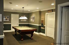 Two Tone Painting Gorgeous Basement Decoration Using Two Tone Green Paint Color And