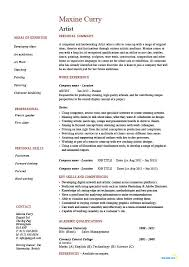 Artist Resume Artistic Drawing Example Templates Job Beauteous Artist Resumes