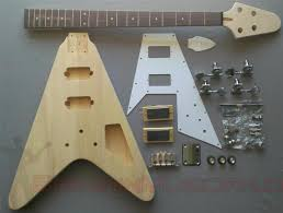 bass flying v style diy unfinished project luthier electric guitar kit