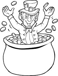 Small Picture Leprechaun with Pot of Gold Coloring Page 2
