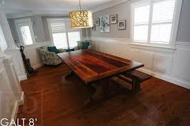 details 8 ft reclaimed wood table sawbuck style base 48 wide reclaimed hemlock threshing floor construction premium polyurethane finish
