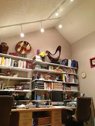 office track lighting. this is our shared office and we can blast the track lighting on high to get p
