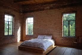 Bedroom With Brick Wall Bedroom Industrial With Distressed Brick Walls No  Curtains
