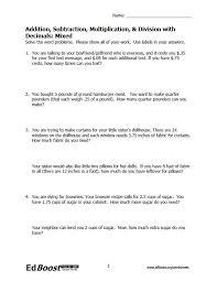Multiplying Decimals Word Problems Worksheets 6th Grade ...
