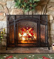 stained glass fireplace screen with door fire plow hearth