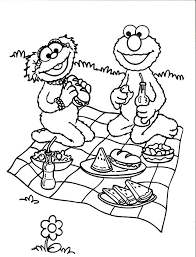 Small Picture Relaxing and Eating in Picnic Coloring Page NetArt