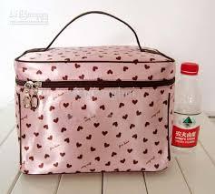large capacity cosmetic bag makeup bag storage bag sweety hearts print pink mix colour