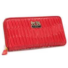 Coach Accordion Zip In Gathered Twist Large Red Wallets CCG