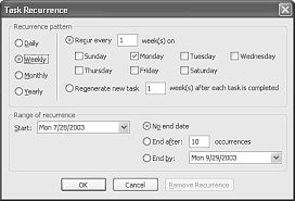 creating a recurring task special