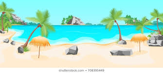 cartoon tropical beach summer landscape background with coast and palms flat design nature scene for travel