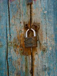 old padlock old door