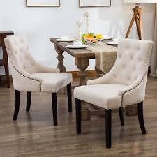 cloth dining chairs. Set Of 2 Dining Chairs Elegant Button Tufted Beige Pattern Fabric Room Cloth