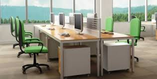 open floor office. beautiful floor desks at a company with notelecommuting mindset and open floor office