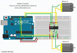 how to use the l293d motor driver arduino tutorial 4 steps step 2 the circuit