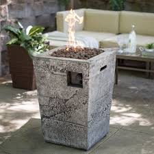fire column propane gas glacier stone patio deck backyard outdoor with cover