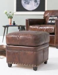 vintage leather footstool double tap to zoom