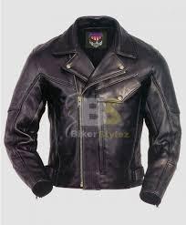 men s chief biker black leather jacket