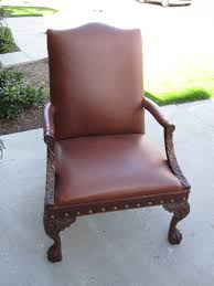 this sam moore estate chair in rich brown leather with claw feet