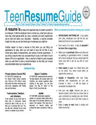 Fill Out Resume Teen Resume Form Fill Out And Sign Printable Pdf Template