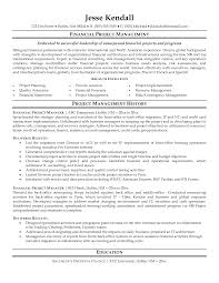 Financial Project Manager Resume Sample Featuring Work History And