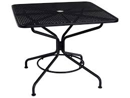 woodard mesh wrought iron 36 square table with umbrella hole in textured black