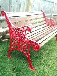 red outdoor benches wood and metal for garden cast iron best chair cushions red outdoor benches