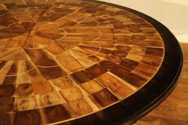 self storing leaves burly walnut inlaid dining table small walnut jupe table 45 to 56 inch round