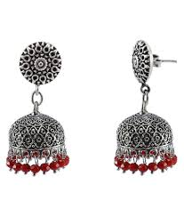 silvesto india vintage indian bollywood drop dangle red crystals chandelier round jhumka earrings jewellery pg