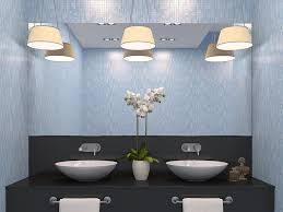 scones on the mirrors or task lighting on the side walls will illuminate the space and still make it look bright and clean