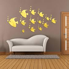 mirror butterflies wall decals modern wall stickers wall art decorative  fish shape acrylic modern wall stickers . mirror butterflies wall decals ...