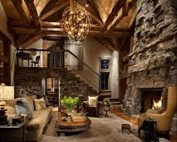 rustic living room with stone fireplace colorado gray stack stone hardwood floors
