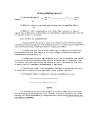 Legal Contracts Templates Free Sample Antenuptial agreement form Blank Antenuptial agreement 1
